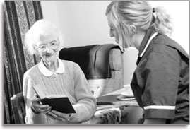 Senior Care, Home Health Care, Elderly woman reading